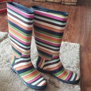 Coach Legacy Striped Rain Boots 7